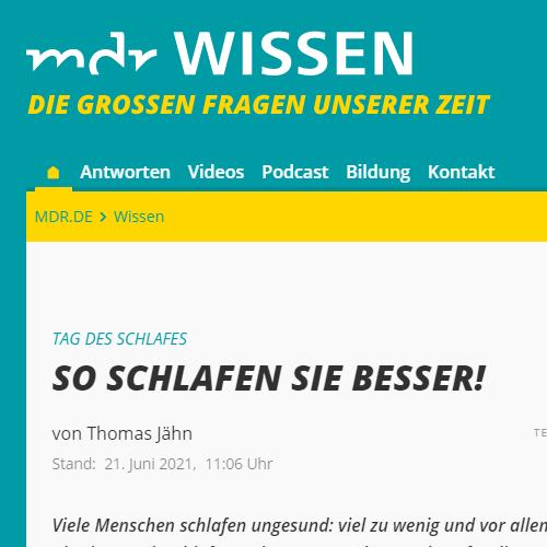 Screenshot der MDR Webseite